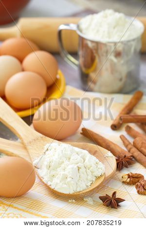 Baking Ingredients: Egg And Flour.
