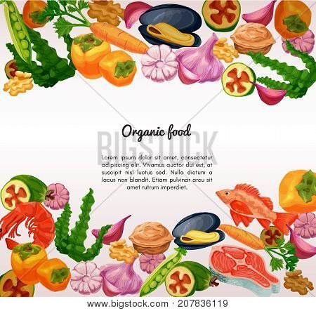 Organic food and seafood vector sketch colorful banner persimmon feijoa sea bass milk carrot garlic walnut salmon steak pea mussel shrimp seaweed