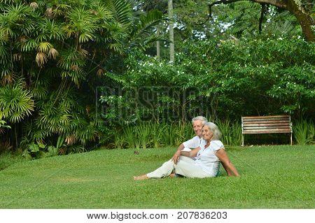 Happy senior couple sitting on green grass