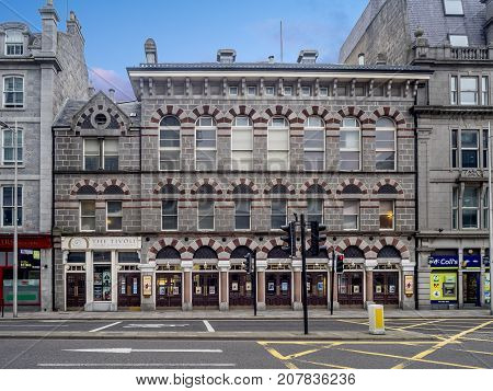 ABERDEEN, SCOTLAND: JULY 24:  The famous Tivoli Theatre in the evening on  July 24, 2017 in Aberdeen, Scotland. The Tivoli Theatre is one of Scotland's most historic Grade A listed buildings.