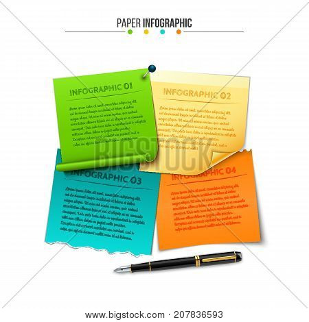 Vector sticky notes for infographic. Template for diagram, graph and presentation. Business concept with 4 options, parts, steps or processes. Data visualization.