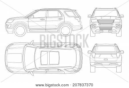 Outline Off-road write car or Modern VIP transport. Offroad truck template vector isolated car on white. View front, rear, side, top. All elements in groups on separate layers.