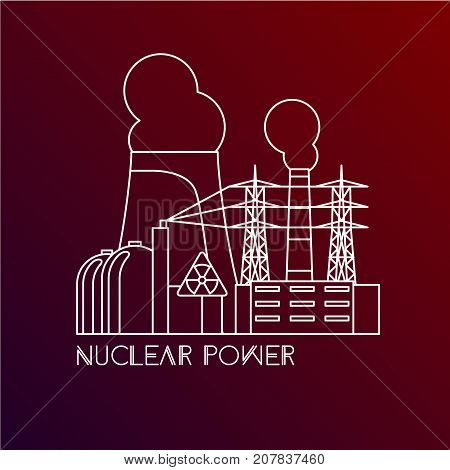 Nuclear power plant. Linear illustration in a flat style. City infographics set. All types of power stations. System with transmission tower, nuclear reactor and Cooling tower. One line design witn editable stroke