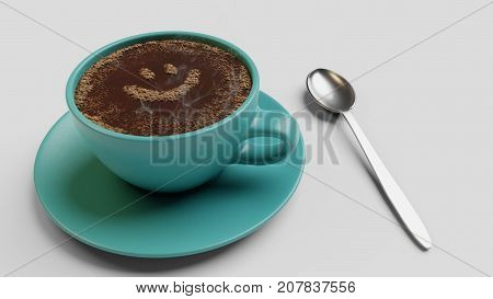 Cyan cup of coffee with foam as smile 3d render isolated on white