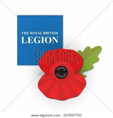 The remembrance poppy - poppy appeal. Modern paper design. Decorative vector flower for Remembrance Day, Memorial Day, Anzac Day in New Zealand, Australia, Canada and Great Britain.
