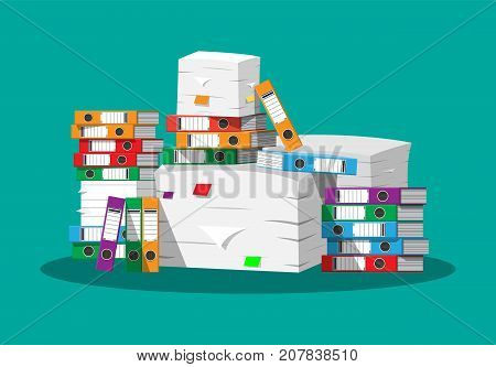 Pile of paper documents and file folders. Pile of papers. Office documents heap. Routine, bureaucracy, big data, paperwork, office. Vector illustration in flat style