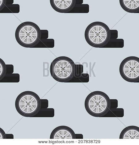 Auto service shop wheels disks and tires construction check montage replacement seamless pattern vector illustration. Automobile workshop technician engine garage background.