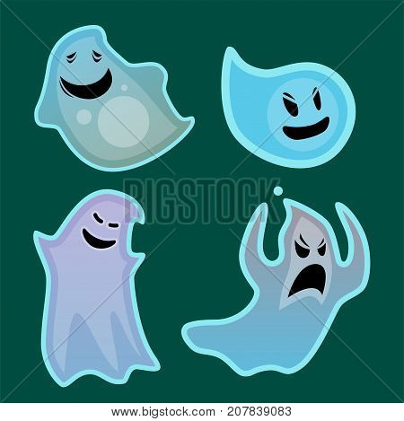 Cartoon spooky ghost character scary holiday monster design costume evil silhouette and creepy funny night vector illustration. Trick or treat halloween celebration phantom spectre apparition.