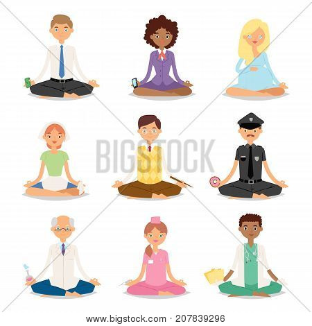 Meditation people relaxation procedure different professions healthy yoga lifestyle characters vector illustration. Meditating person position calm fitness human.