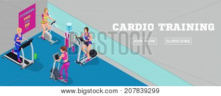 Sport club banner isometric illustration fitness cardio workout with girls running elliptical machine stepper bicycle modern training concept
