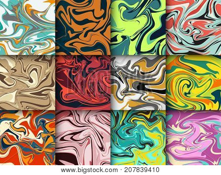 Liquid paint abstract marble background pattern modern contemporary art marbled texture stone design vector illustration. Watercolor grunge marbling creative liquid backdrop.