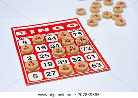 Business Success Concept : Red bingo card with white chip on white background.