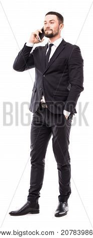 Handsome Business Man Talking On The Mobile Phone On White Background