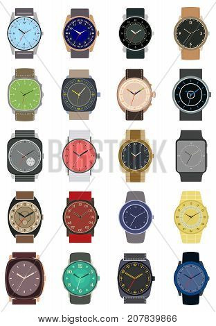 Set of twenty classic design mechanical wristwatch isolated on white background. Clock face with hour minute and second hands. Vector illustration.