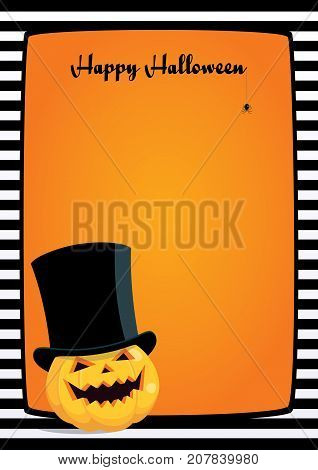 Vector orange background with black and white striped frame and cartoon illustration of a laughing pumpkin in a black top hat. Vertical A4 format, greeting
