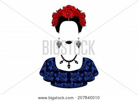 Portrait of the young beautiful mexican woman style with a traditional hairstyle. Mexican crafts earrings, skull necklace and red flowers, Traditional Mexican Catrina, death's day. Vector isolated