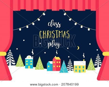 School or Theatre Stage Decorations for Christmas or New Year Play. Snowy Winter Wonderland and Lights Garlands. Class Play Sign