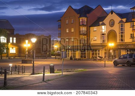 Night view of the English city of Exeter. Area between the river and Haven Rd. Devon. UK