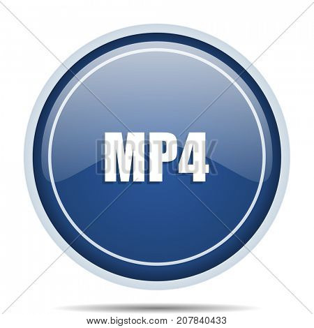 MP4 blue round web icon. Circle isolated internet button for webdesign and smartphone applications.