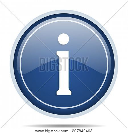 Information blue round web icon. Circle isolated internet button for webdesign and smartphone applications.