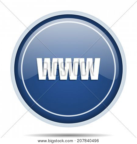 WWW blue round web icon. Circle isolated internet button for webdesign and smartphone applications.