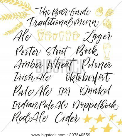 Collection of type of beer. Ale lager cider bock stout porter irish doppelbock red ale IPA phrases. Ink illustration. Modern brush calligraphy. Isolated on white background.