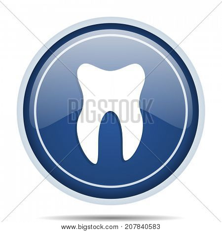 Tooth blue round web icon. Circle isolated internet button for webdesign and smartphone applications.