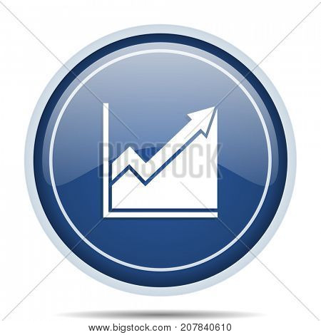 Histogram blue round web icon. Circle isolated internet button for webdesign and smartphone applications.