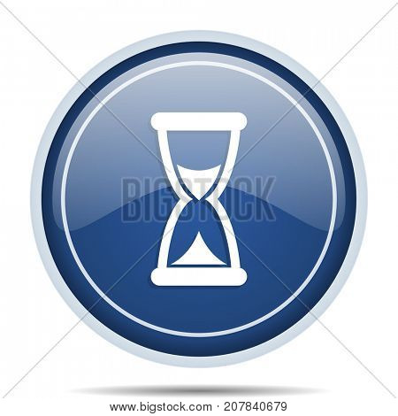 Time blue round web icon. Circle isolated internet button for webdesign and smartphone applications.