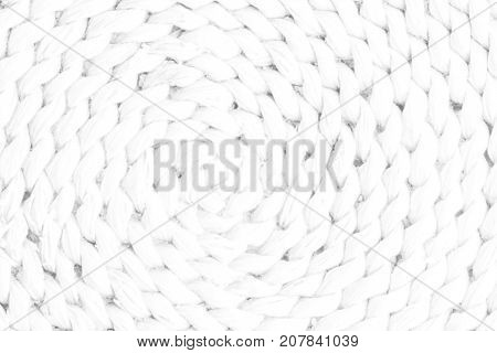 Pattern Nature For Background Of Handicraft Weave White Texture Wicker Surface. Closeup View