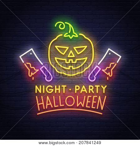 Pumpkin and ax neon sign. Happy Halloween. Neon sign, bright signboard.
