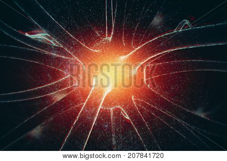 Abstract glowing neuron on space background. Medicine concept. 3D Rendering