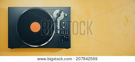 Vinyl Record Player On Orange Background