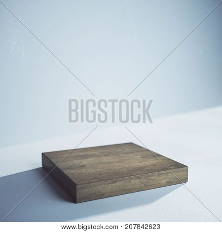 Side view of empty wooden board on concrete background. Presentation concept. Mock up 3D Rendering