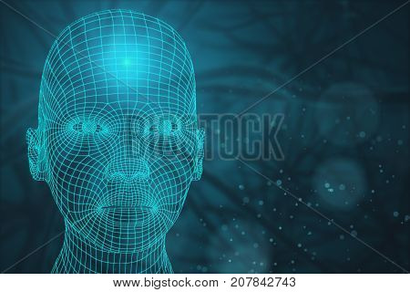 Front view of abstract mesh head on blurry background. Cyborg concept. 3D Rendering