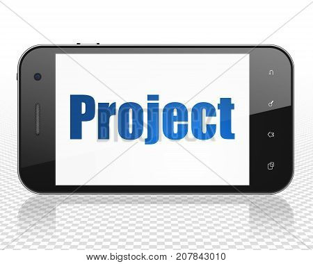 Finance concept: Smartphone with blue text Project on display, 3D rendering