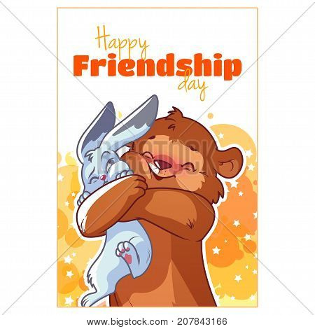 Greeting Card For Friendship Day With Cute Bear And Hare.