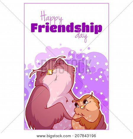 Greeting Card For Friendship Day With Two Cute Owls.