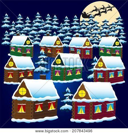 Christmas village.Silhouette Santa's reindeer in the moonlight.