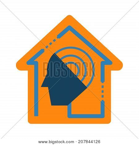 Smart home automation assistant abstract icon. Home control artificial intelligence concept illustration isolated vector. Transparent