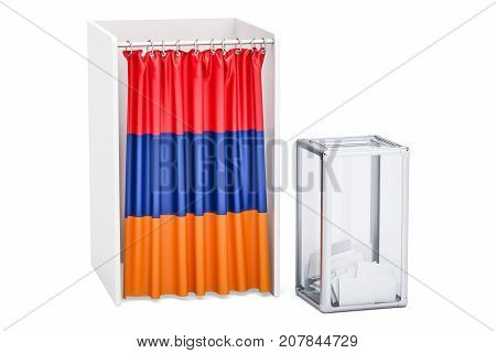 Armenian election concept ballot box and voting booths with flag of Armenia 3D rendering
