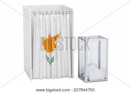 Cyprus election concept ballot box and voting booths with flag 3D rendering