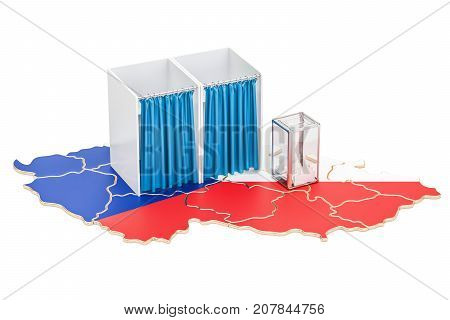 Czech Republic election concept ballot box and voting booths on the map 3D rendering