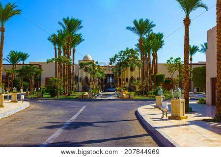 Sharm El Sheikh, Egypt - September 27, 2017: The main entrance and Grand Hotel Sharm El Sheikh 5 at Sharm El Sheikh, Egypt on September 27, 2017