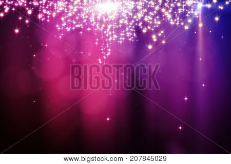 Abstract sparkling pink background with blurry bokeh dots and spotlight. Celebration holiday destive concept