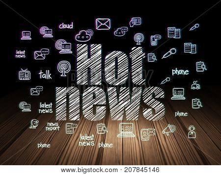 News concept: Glowing text Hot News,  Hand Drawn News Icons in grunge dark room with Wooden Floor, black background