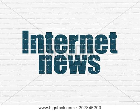 News concept: Painted blue text Internet News on White Brick wall background