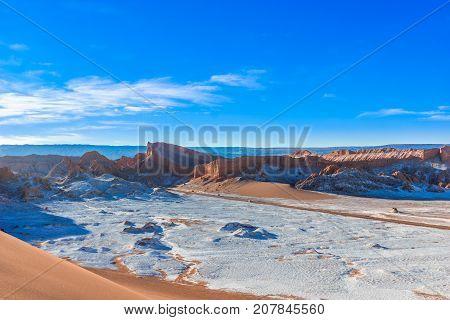 View on moon Valley and volcan Licancabur by San Pedro de Atacama in Chile