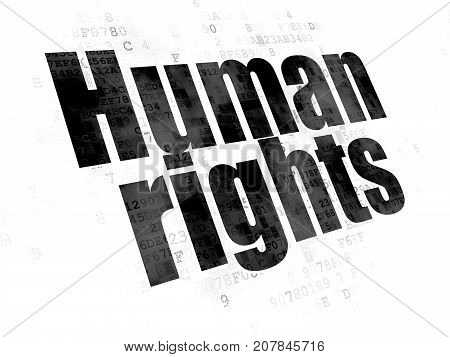 Politics concept: Pixelated black text Human Rights on Digital background