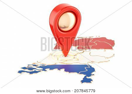 Map pointer on the map of Netherlands 3D rendering isolated on white background